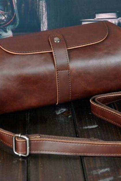 Small Shoulder Bag Cylindrical Shape Brown Leather Bags for Men and Women Small Log Bags