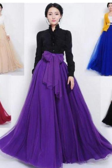 Purple Skirts Ankle Length Flowing Tail Skirts Floor Length Pleated Prom Skirt Formal Party Skirts for Women