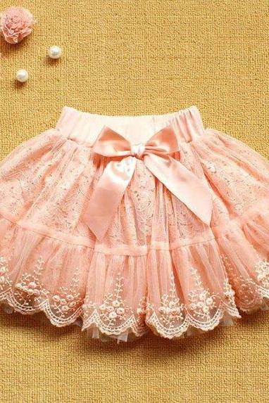 Baby Skirts 12 Months Tutu Skirts with Pearl and Bows Pink Summer Skirts Pink Tutus Pink Baby Skirts