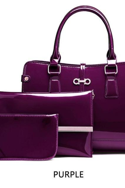 3 Pcs Set Purple PU Tote Bag Handbag