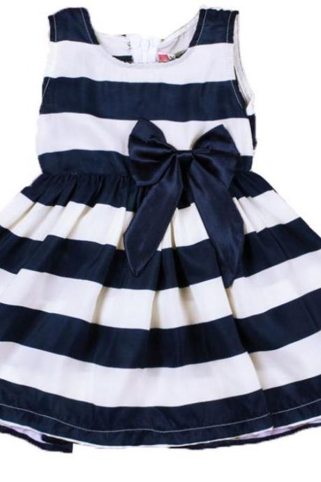12 Months Ready to Ship Striped Dresses for Girls with matching Bow Headband for Girls White and Navy Blue Stripes