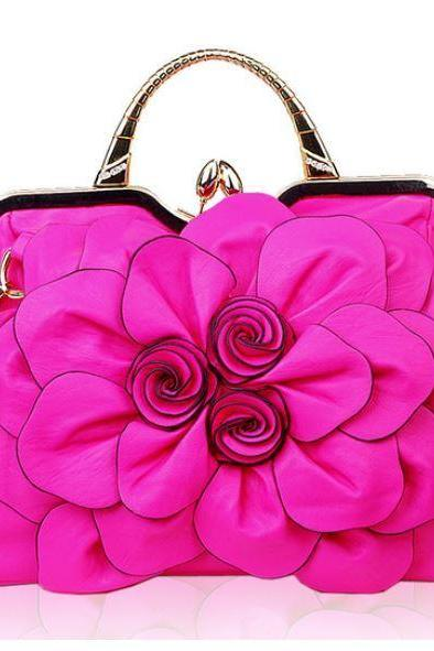 Luxurious Woman Luxury Purses Shoulder Pink Bags with Floral Embellishment