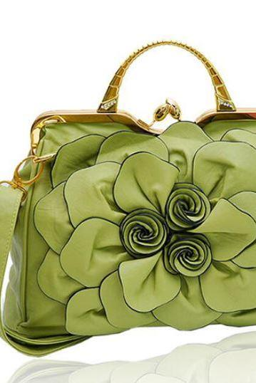 Luxury Green Purse Light Green Shoulder Bag Fashion Show Big Flower Handbags for Women Leather Bags