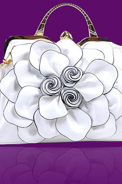 Bridal Bags Luxury White Purse White Shoulder Bag Fashion Show Big Flower Handbags for Women Leather Bags
