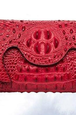 Red Clutch Crocodile Pattern Handmade Genuine Leather Tote Purse Red HandBags