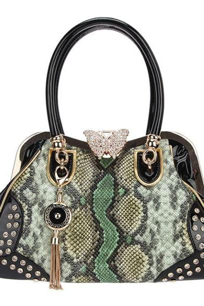 Luxury Bags for Women with Butterfly Lock Green Purse Snake Skin Pattern Handbags