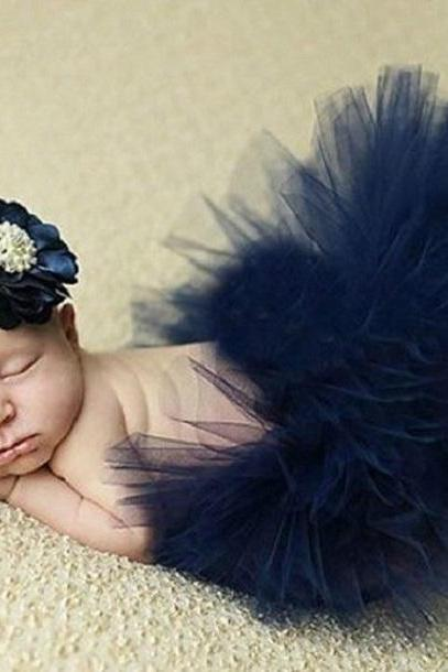 Navy Blue Skirts and Navy Blue Headband for Baby Girls-Newborn Props Photography Accessories for Photographer