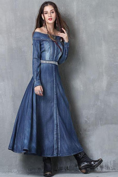 New Arrival Off Shoulder Summer Denim Dress for Women Blue Dress Denim Dress High Quality Denim Fashion