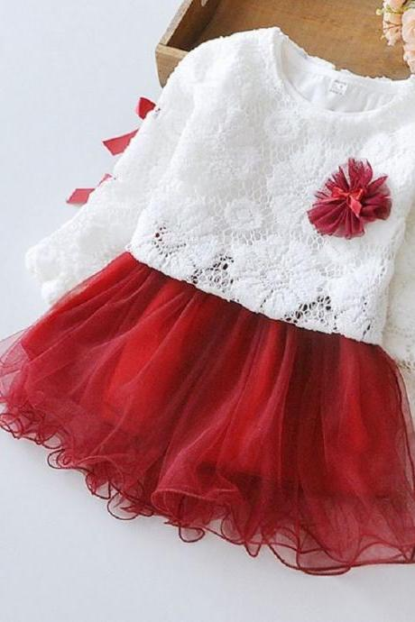 High Quality 6-9 Months Red Tutu Dress with matching Hollow Out White cardigan Dress for Girls WITH Matching Headband