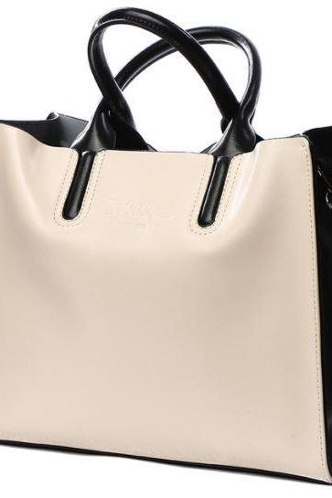 Beige Genuine Leather Tote Bag, Shoulder Bag, Work Bag