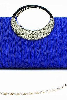 Royal Blue Clutch Purse for Elegant Ladies Royal Blue Diamond Mini Purses Royal Shoulder Bags