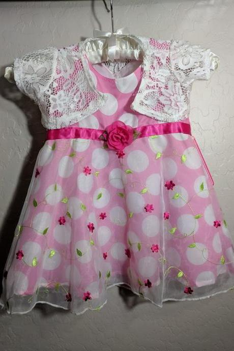 12-18mos Polka Dots Dress for Girls with Shrug Comes with Free Headband Pink Dress for Girls Dresses