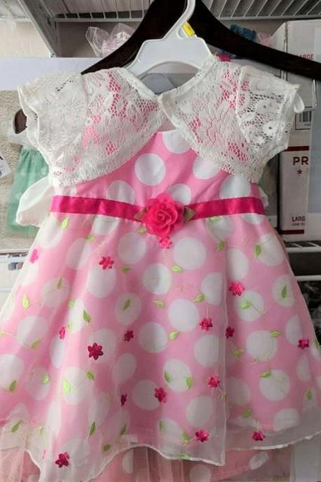 Polka Dots Dress for Girls with Shrug Comes with Free Headband Pink Dress for Girls Dresses