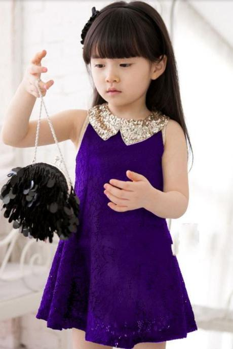 Newborn Dress for Girls Purple Dress with Golden Collar Ready for Shipping from USA comes with FREE headband