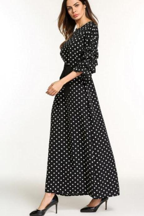 Ruffle Lantern Sleeve Polka Dot Black Casual Maxi Dress