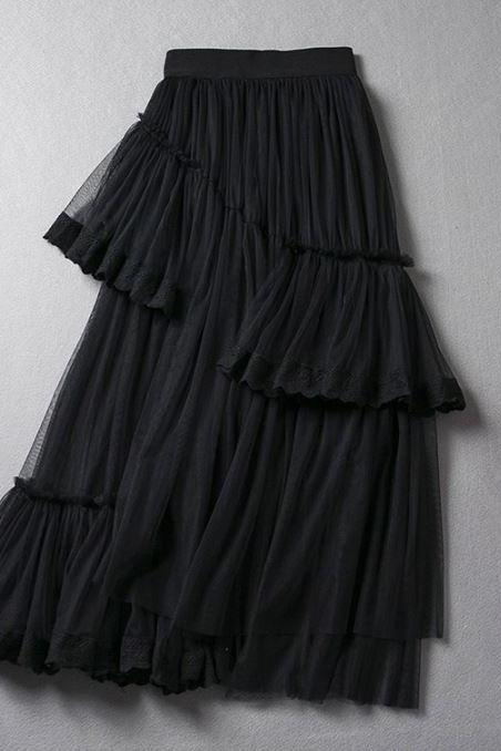 Black Skirt Tutu Skirt Layered Asymmetrical Layered Tutu Skirts for Teen Girls and Women