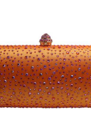 Orange Bag with Faux Diamonds Shoulder Bags Orange Clutch Bridesmaids Purses