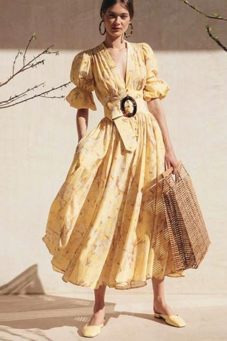 SALE! Yellow Maxi Dress Free Shipping Yellow Vintage Dress Cotton Spring Dress