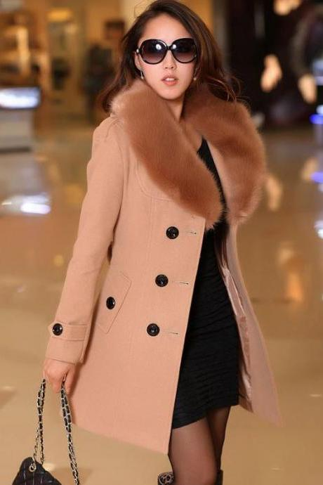 Fantastic Brown Wool Jacket Real Rex Rabbit Fur Lapel Collar Wool Jacket Coat- Brown Overcoats Women Long Trench Coats