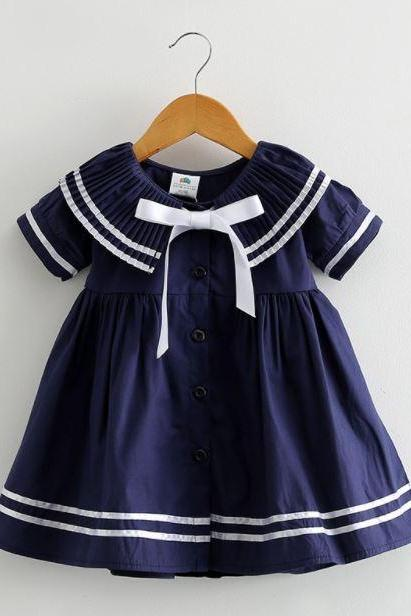 FREE SHIPPING Navy Sailor Girls Dress-Props Sailor Navy Blue Dress for Toddler Girls