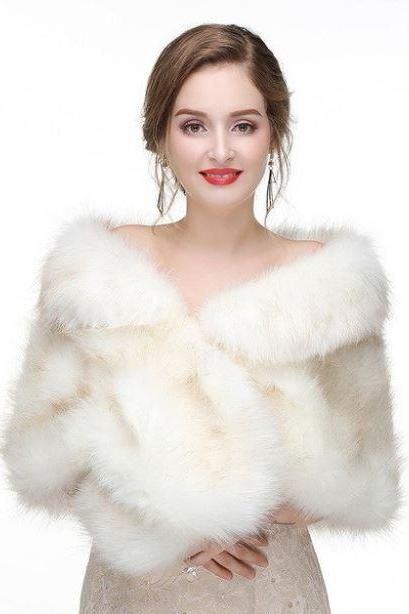 Bridal Faux Fur Coat Gilet Fur White Shrug Vest Women White Wraps Winter Fashion Accessories