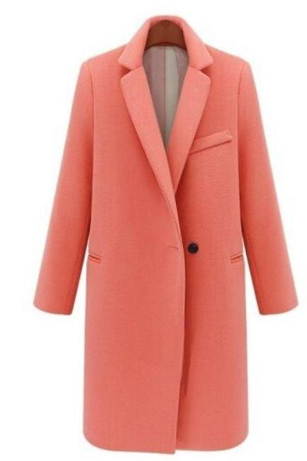 Ready for Shipping High Quality Orange Blazers Women Winter Jackets for Women Coats Single Button Long Blazers