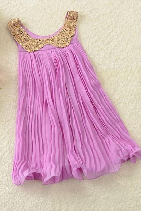 FREE SHIPPING Toddler Girls Dress 6-7 years Old Purple Dress Girls Lavander Dress Golden Sequined Collar Whimsical Dress