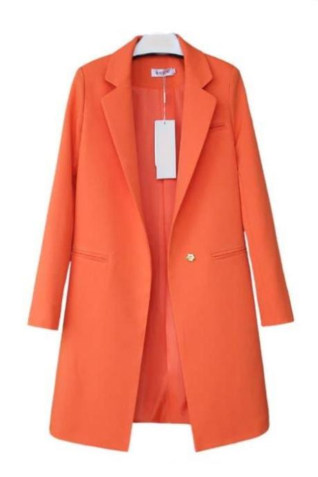 Ready for Shipping Orange Wool Blazer Coats for Women Blazers Long Formal Blazers Work Office Blazers