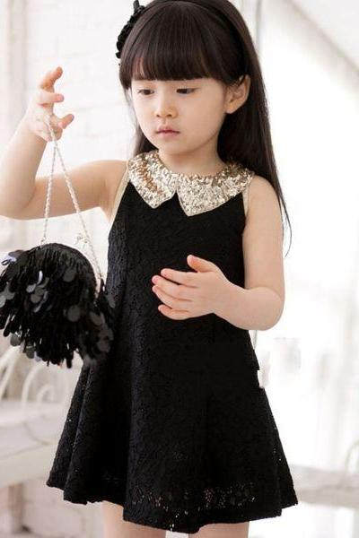 Ready to Ship 4T Black Dress for Little Girls with Golden Peter Pan Collar-Black Party Dress