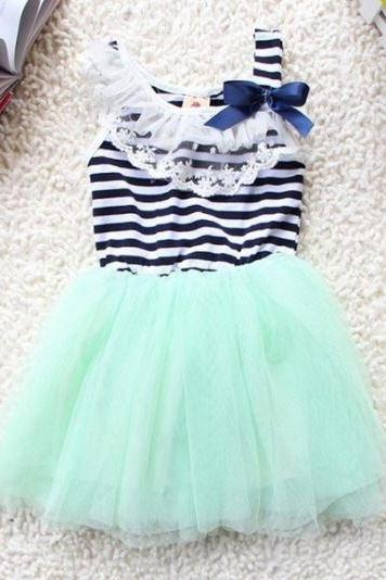 Mint Green Tutu Dress for Toddler Girls-Stripe Tutu Dress-Summer Lace