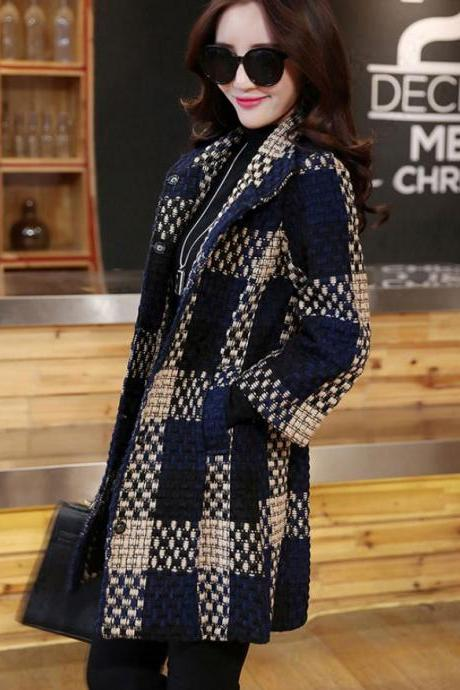 Medium Size Navy Blue Trench Coats for Women Navy Blue Blazer Quarter Sleeves Winter Jackets for Women Checkered Plaid