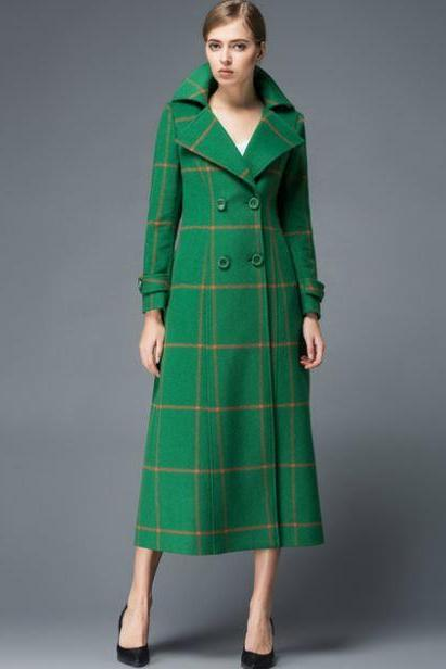 Plaid Wool Coats Woolen Jackets Winter Coats for Women Green Trench Coats for Women