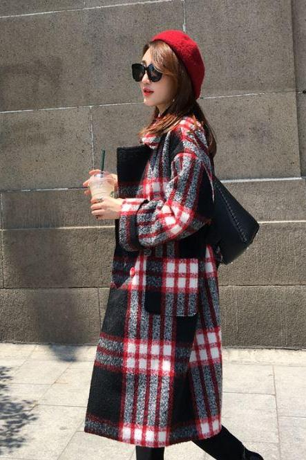 Slim Hit Color Plaid Red Coats and Long Sections Woolen Coats Woolen Winter Jackets Checkered Red Winter Coats