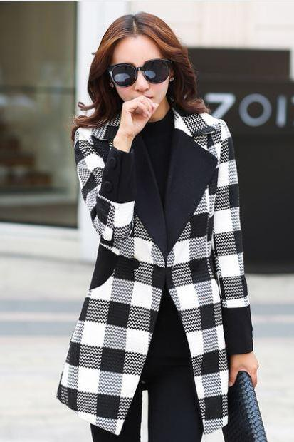 New Winter Woolen Coats Slim Hit Color Plaid Black Coats and Long Sections Woolen Trench Coats Black Blazer Checkered Office Work Blazers for Women