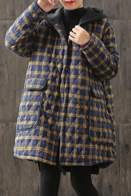 Rsslyn Winter Coats for Women Blue Winter Jacket Women's Loose Double-Breasted Woolen Coat Winter Wool Coat 4XL,5XL,6XL Topcoat