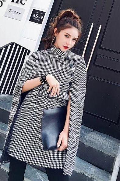 Black Jacket Black Winter Blazer Slim Capes for Women Winter Cloaks Houndstooth Turtleneck Sleeveless Outerwear for Women