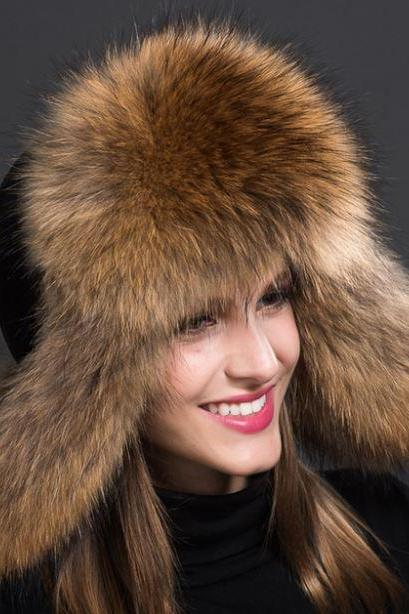 Russian Fur Hats for Women Fashion Bomber Cap100% Real Raccoon Fur Ball Hats Winter Hats for Women