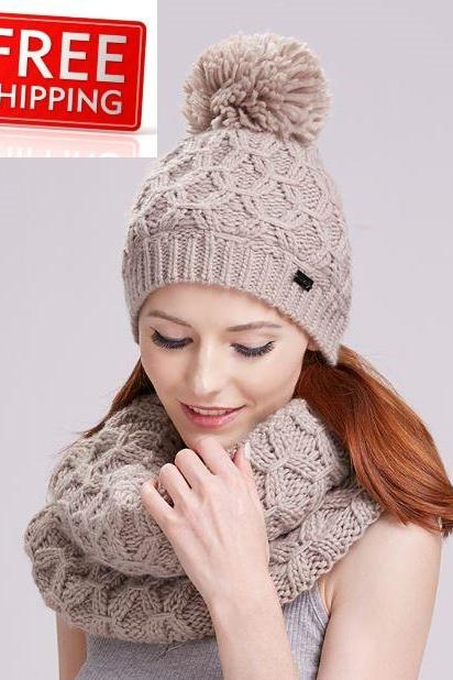 Winter Accessories for Women Beige Scarf with Matching Beige Pompom Beanie for Girls Teen Girls and Women