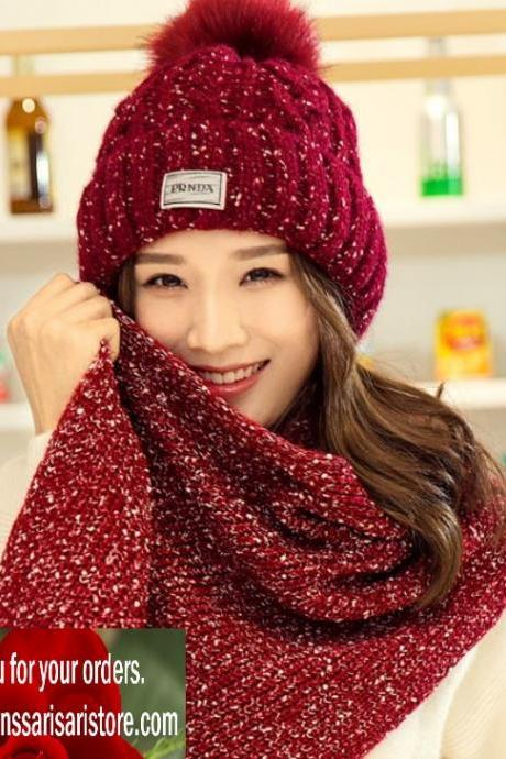 Christmas Red Hat and Red Scarf for Women Matching Winter Long Scarfs Knitted Pompom Scarves and Hats Winter Accessories