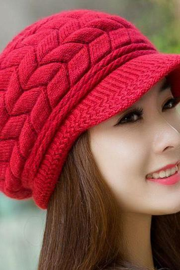 Christmas Red Hats for Women Slouchy Hats for Teen Girls with Brim Knitted hats