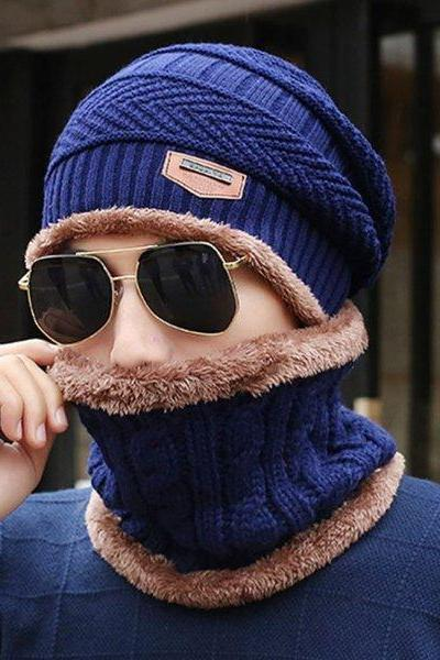 Unisex Beanies with matching Neck Warmer Navy Blue Infinity Scarf for Women with Navy Blue Hat