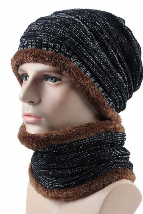 Winter Hats Unisex Beanies with Matching Neck Warmer Black Infinity Scarf for Women with Black Beanies