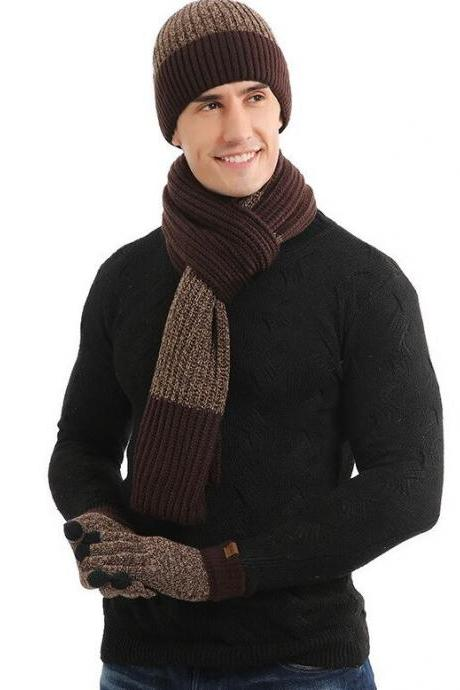 Brown Winter Hats for Men Thick Knitted with Matching Neck Warmers for Men and Women Unisex
