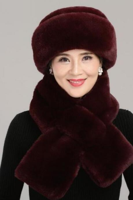 Keep Your Self Warm Thick Velvet Fur Red Winter Hats with Matching Burgundy Scarves