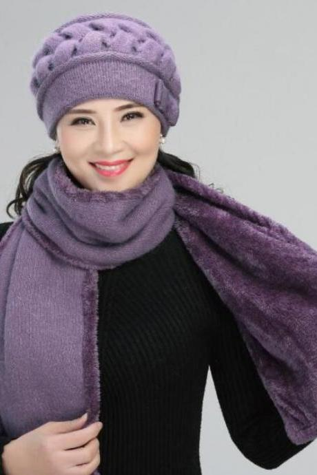 Keep Your Self Warm Purple Winter Set for Women Purple Knitted Hat and NeckWarmer