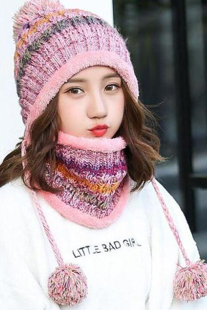 Pink Winter Hats for Girls Pink Scarf Multicolored Pompom Knitted with Matching Neck Warmers for Women Teen Girls and Girls