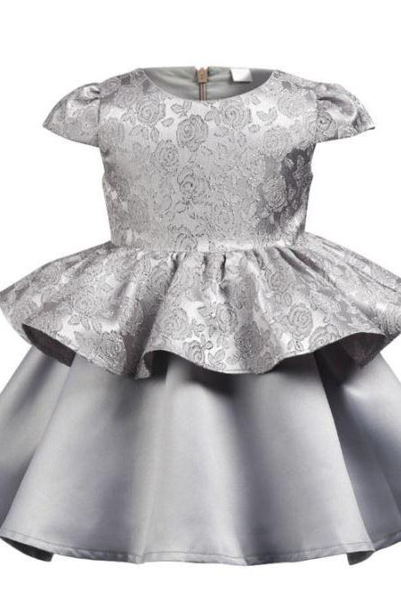 Silver Dresses Luxury Ruffled Toddler Girls Silver Dress for Baby Girls Elegant Pageant Gray Dresses