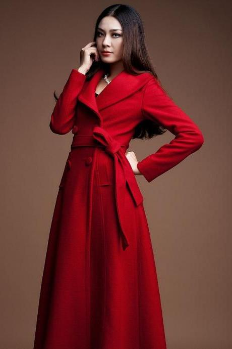 RSS Boutique Red Winter Coats for Women Red Trench Coats Big Lapel