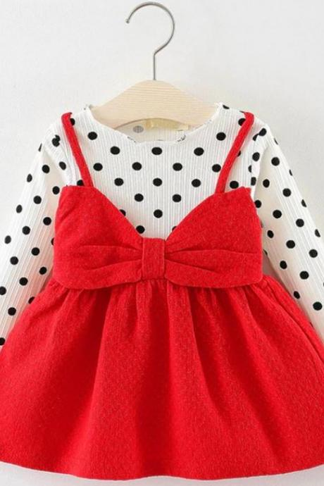 Red Polka Dots Big Bow Dresses Red Long Sleeves Dress for Baby Girls