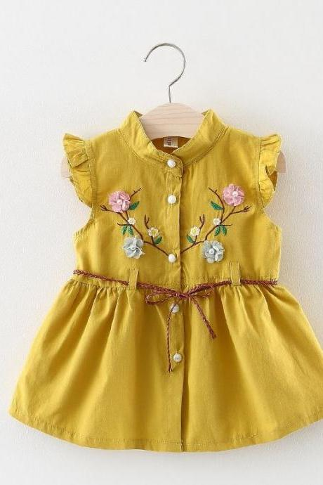 Embroidery Laced Patchwork Yellow Dress Linen Dress for Child Girls Yellow Dress with Belt